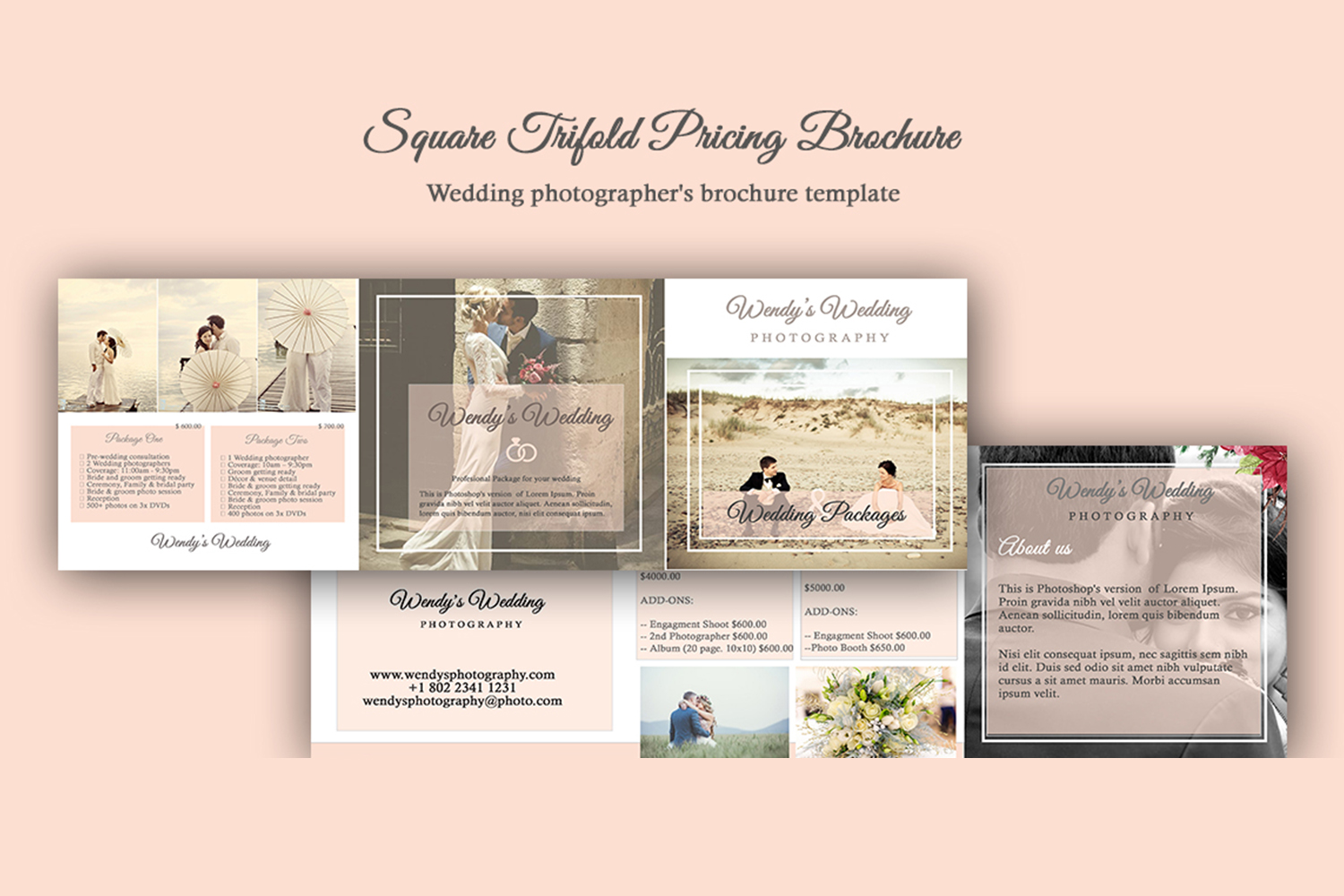 Wedding Trifold Pricing Brochure | 5X5 - Instant Instant dow example image 1