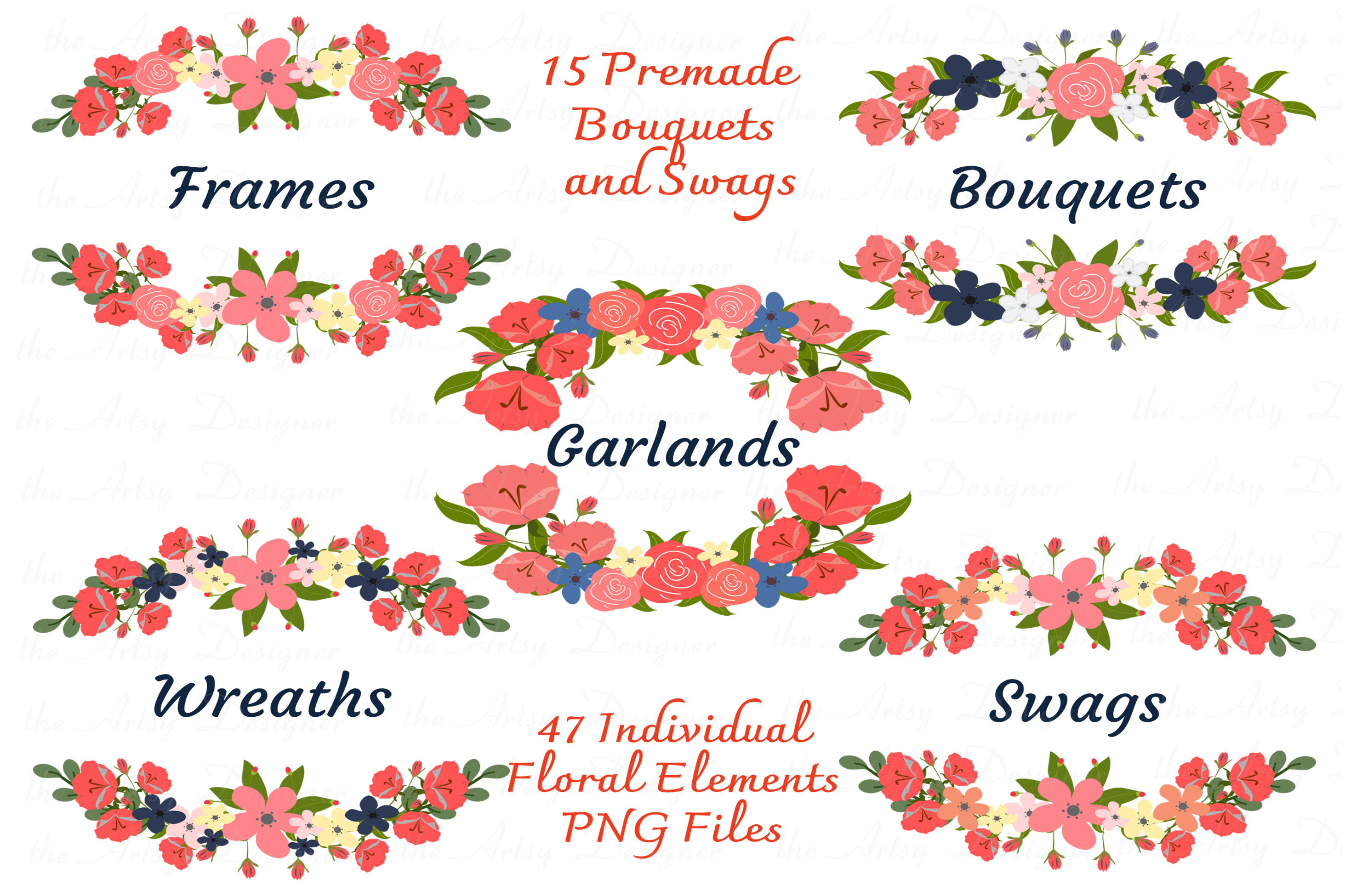 Navy Blue Coral Flowers Sublimation Clipart Bundle Wedding example image 2