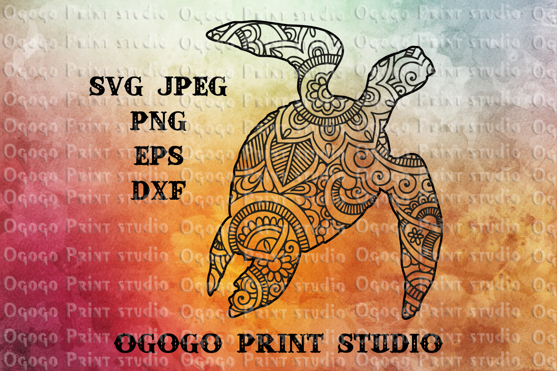 Turtle SVG, Zentangle SVG, Mandala svg, Beach svg,Sea animal example image 1