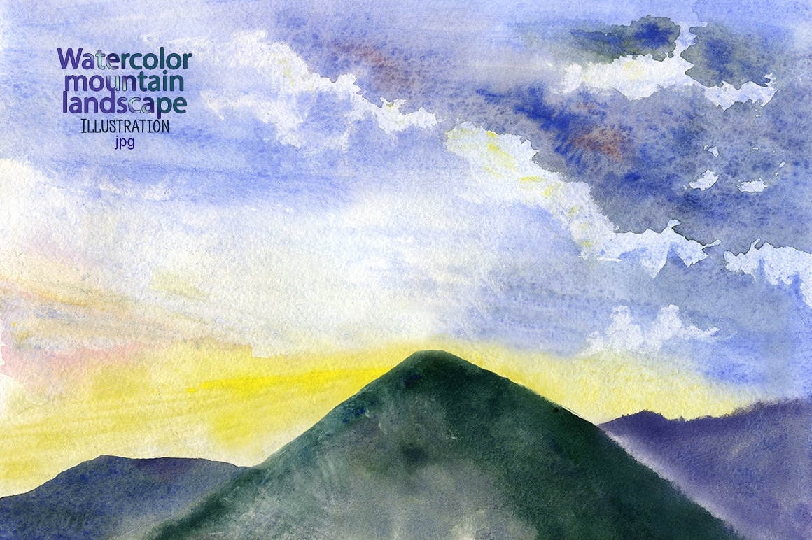 Watercolor mountain landscape example image 1
