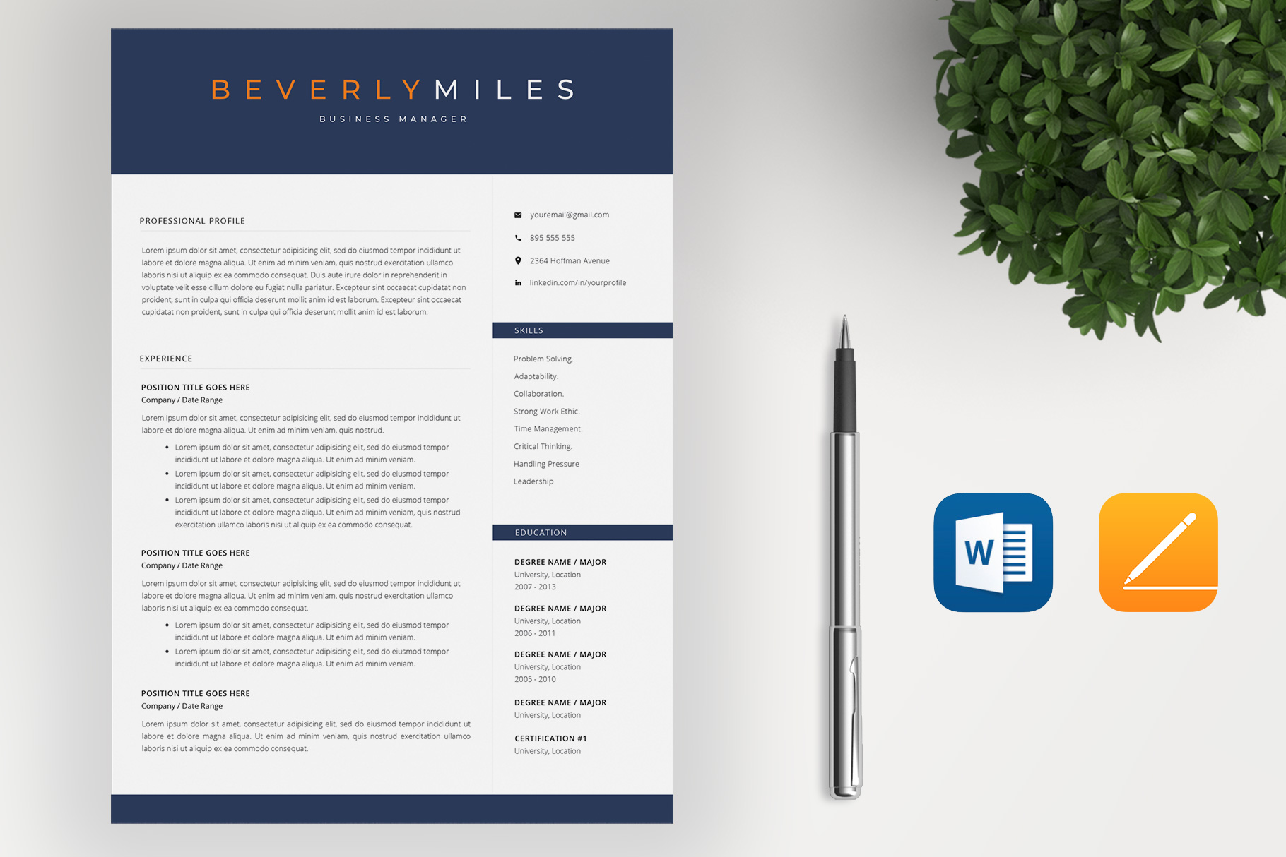 Resume Template and Cover Letter   CV template example image 2