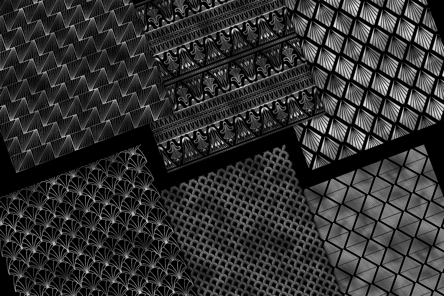 Black and Silver Art Deco Digital Paper example image 4