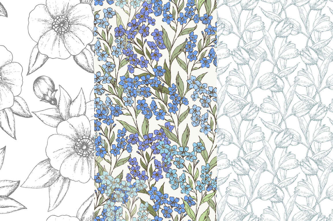 Hand Drawn Floral Vector Patterns example image 5