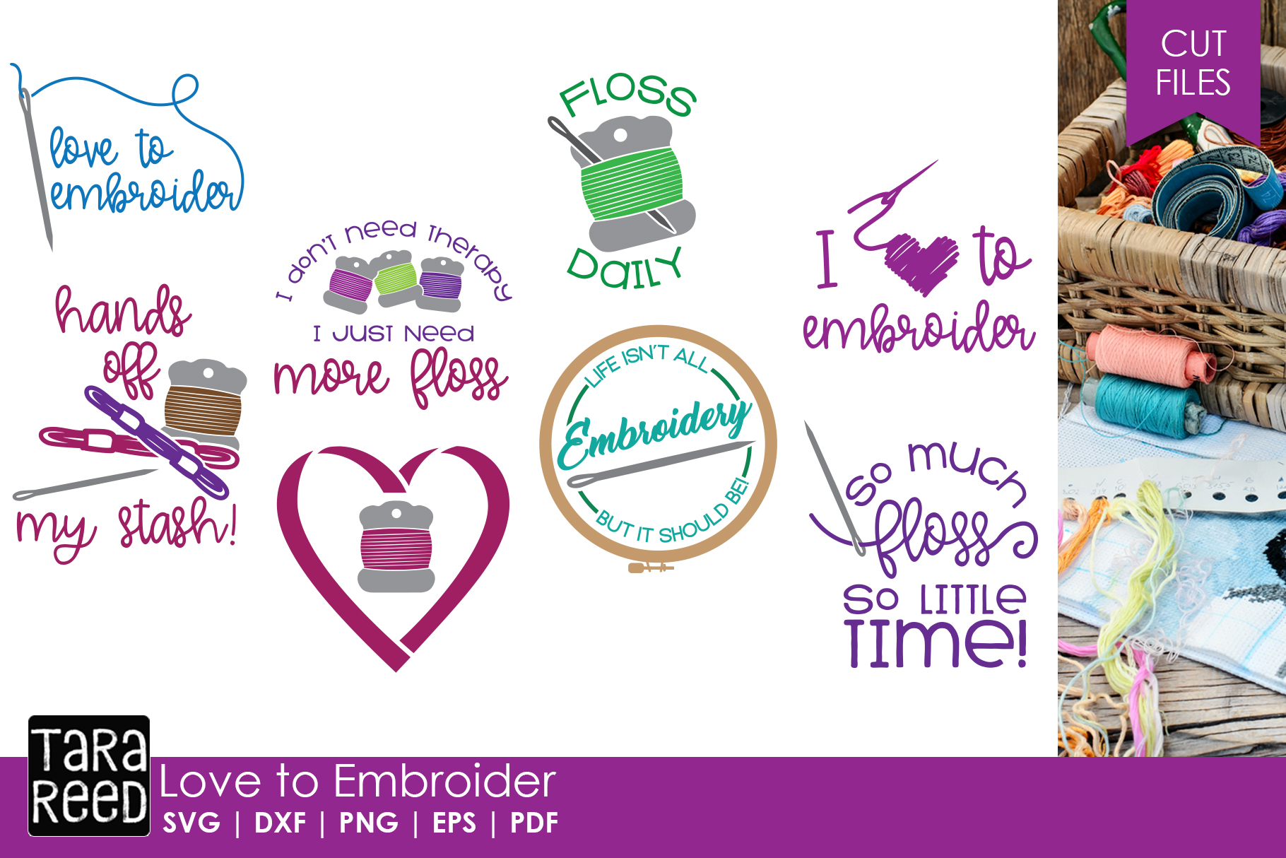 Love to Embroider - Embroidery SVG and Cut Files for Crafter example image 1