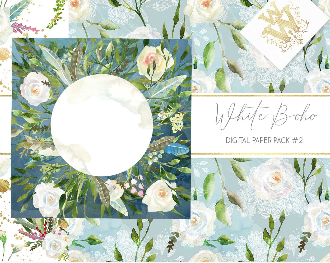 Boho chic digital paper pack, watercolor floral seamless example image 7