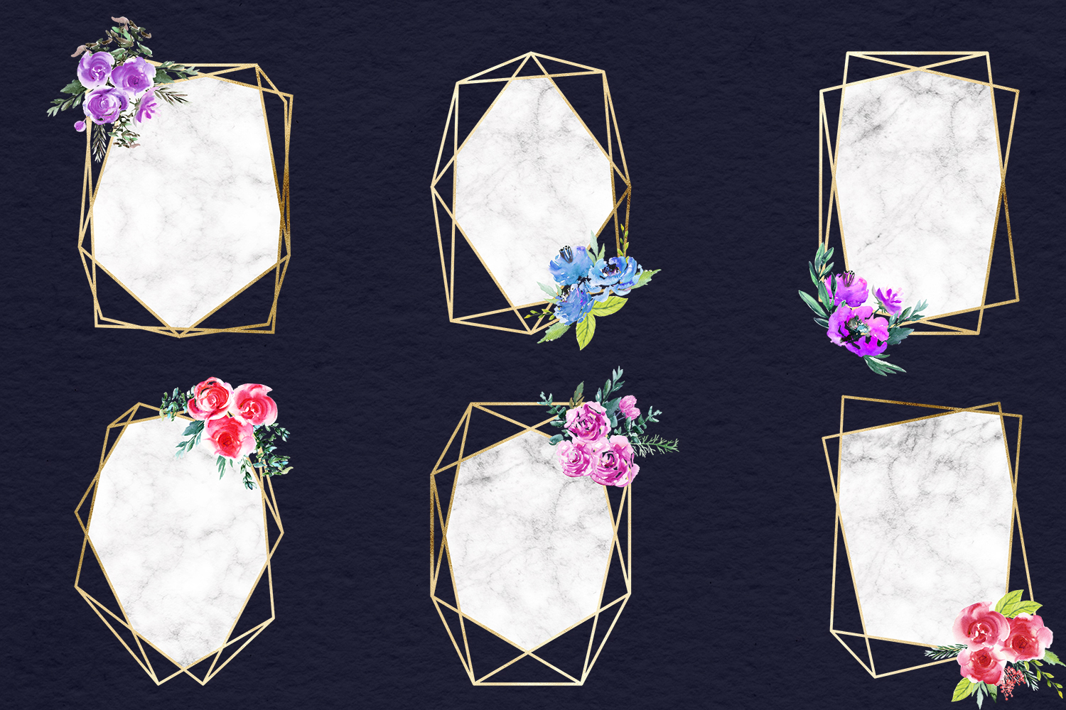Watercolor Flowers & Gold Frames example image 2