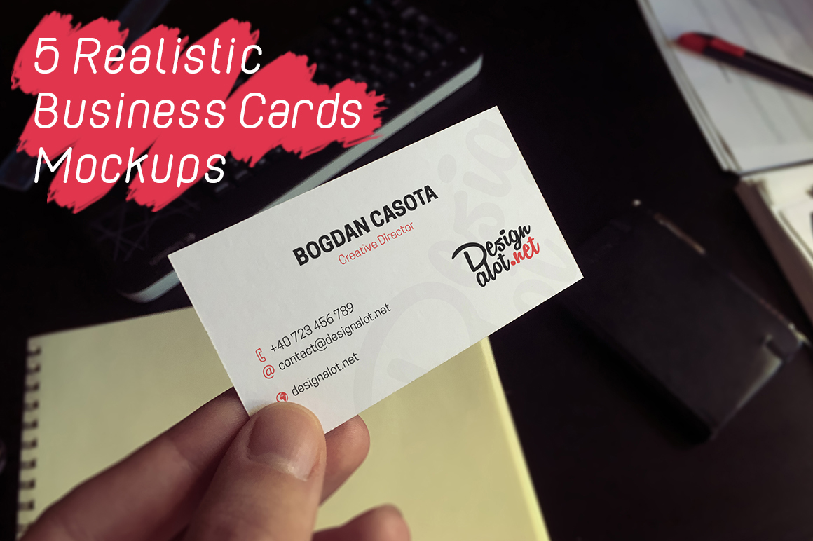 5 Realistic Business Cards Mockups - 50% OFF example image 7