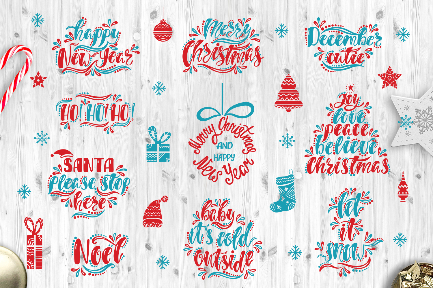 Christmas SVG Bundle. Holiday vector clipart. Cutting Files. example image 1