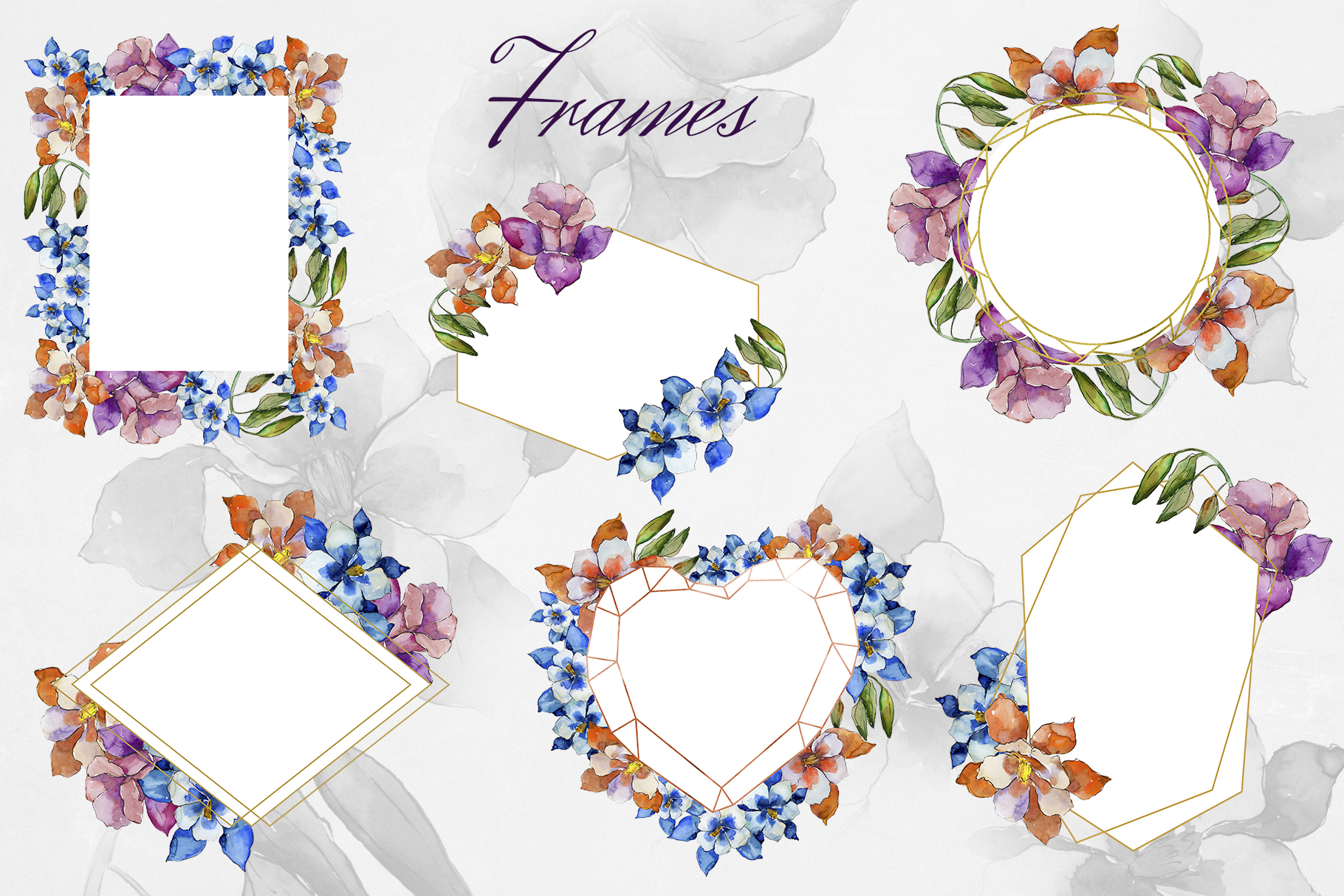 Aquilegia flowers velvet season watercolor png PNG example image 4