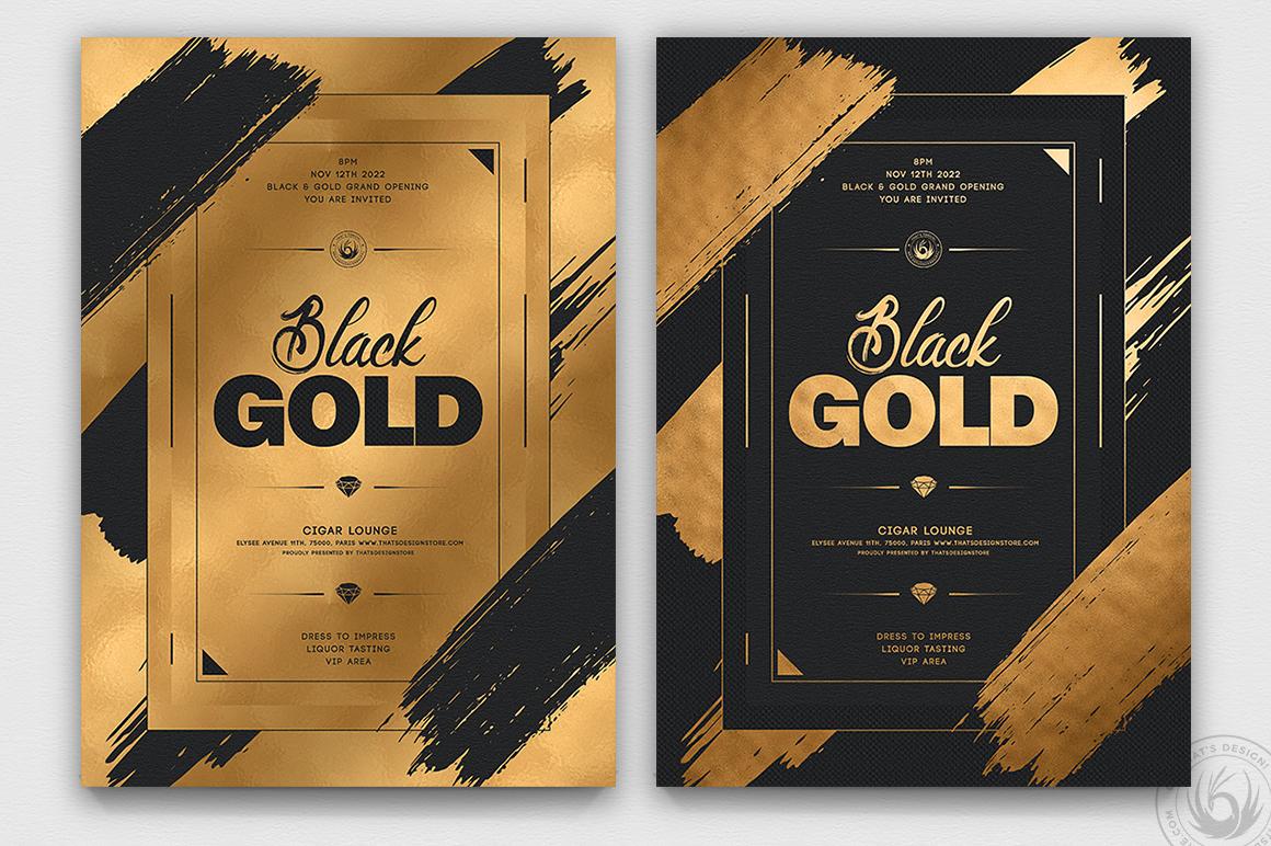 10 Black and Gold Flyers Bundle V2 example image 6