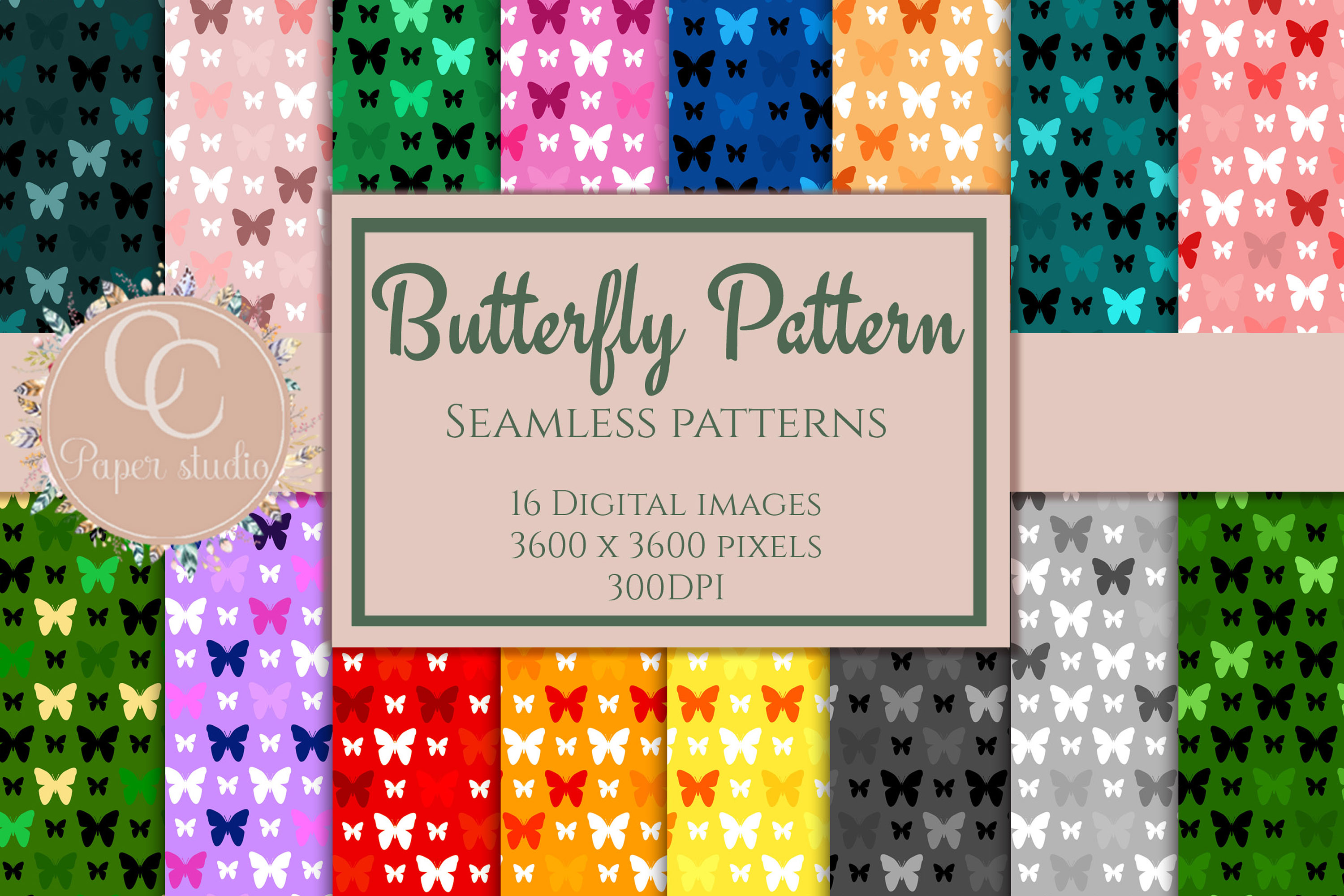 16 Rainbow coloured butterfly pattern digital paper example image 1