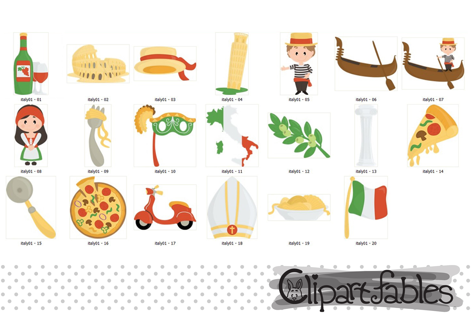 Italy clipart, Rome clip art, Pizza, Pisa tower, Colosseum example image 2