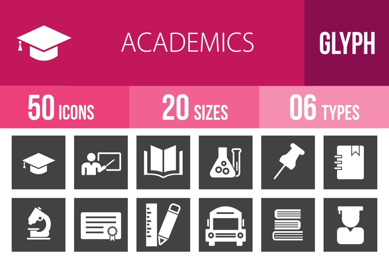 50 Academics Glyph Inverted Icons example image 1