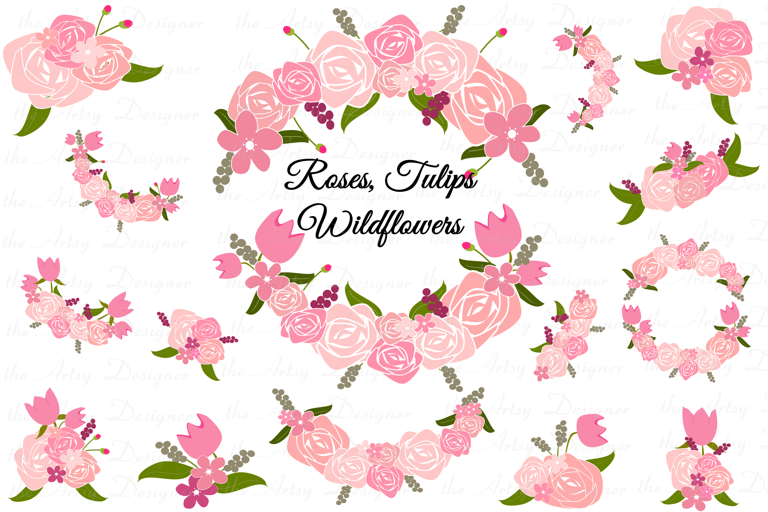 Pink Roses Tulips Flowers Sublimation Clipart Swags Bundle example image 1