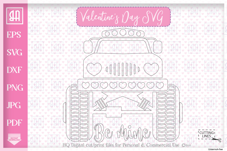 Valentine's day MonsterTruck svg, Valentine's truck svg example image 2