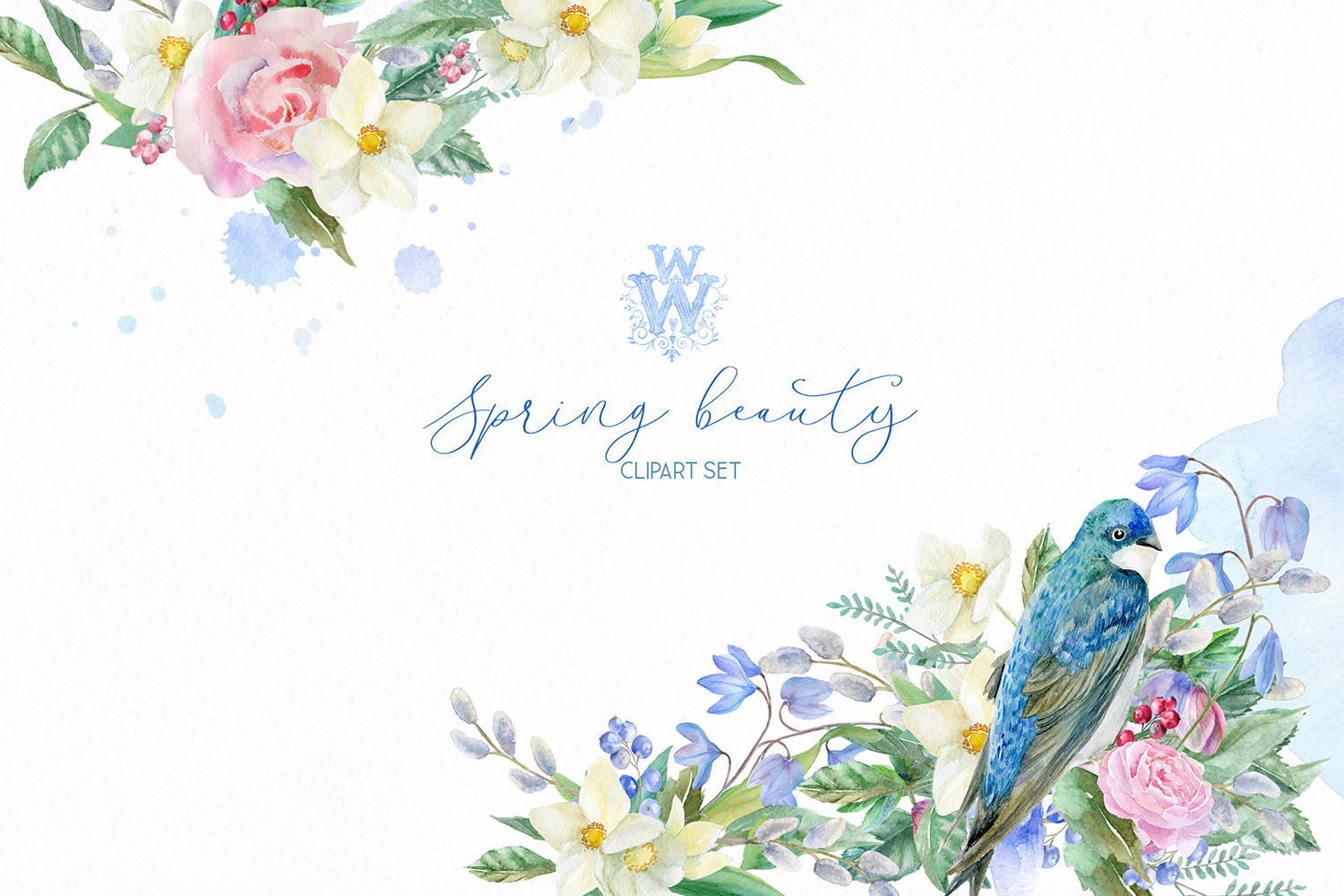 Watercolor spring bouquets clipart, wildflower heart wreath example image 1