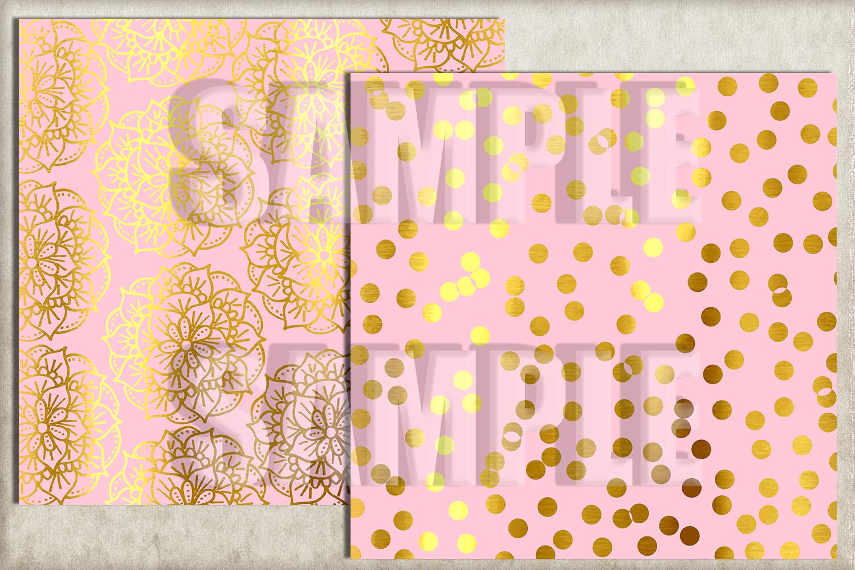 Pink and Gold Foil Digital Paper, Digital Background example image 2