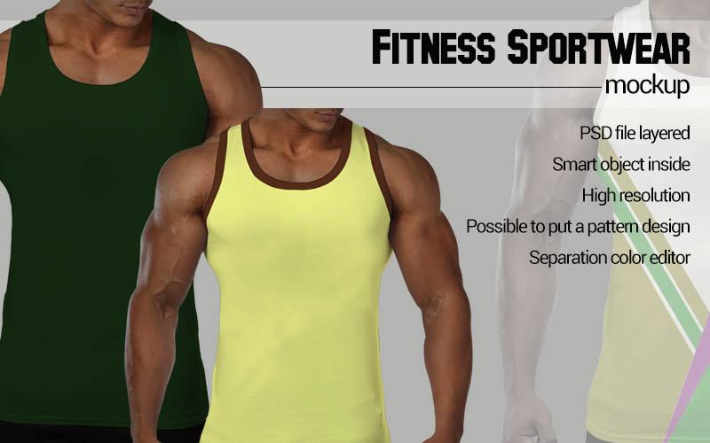 Black man Fitness Mockup example image 2