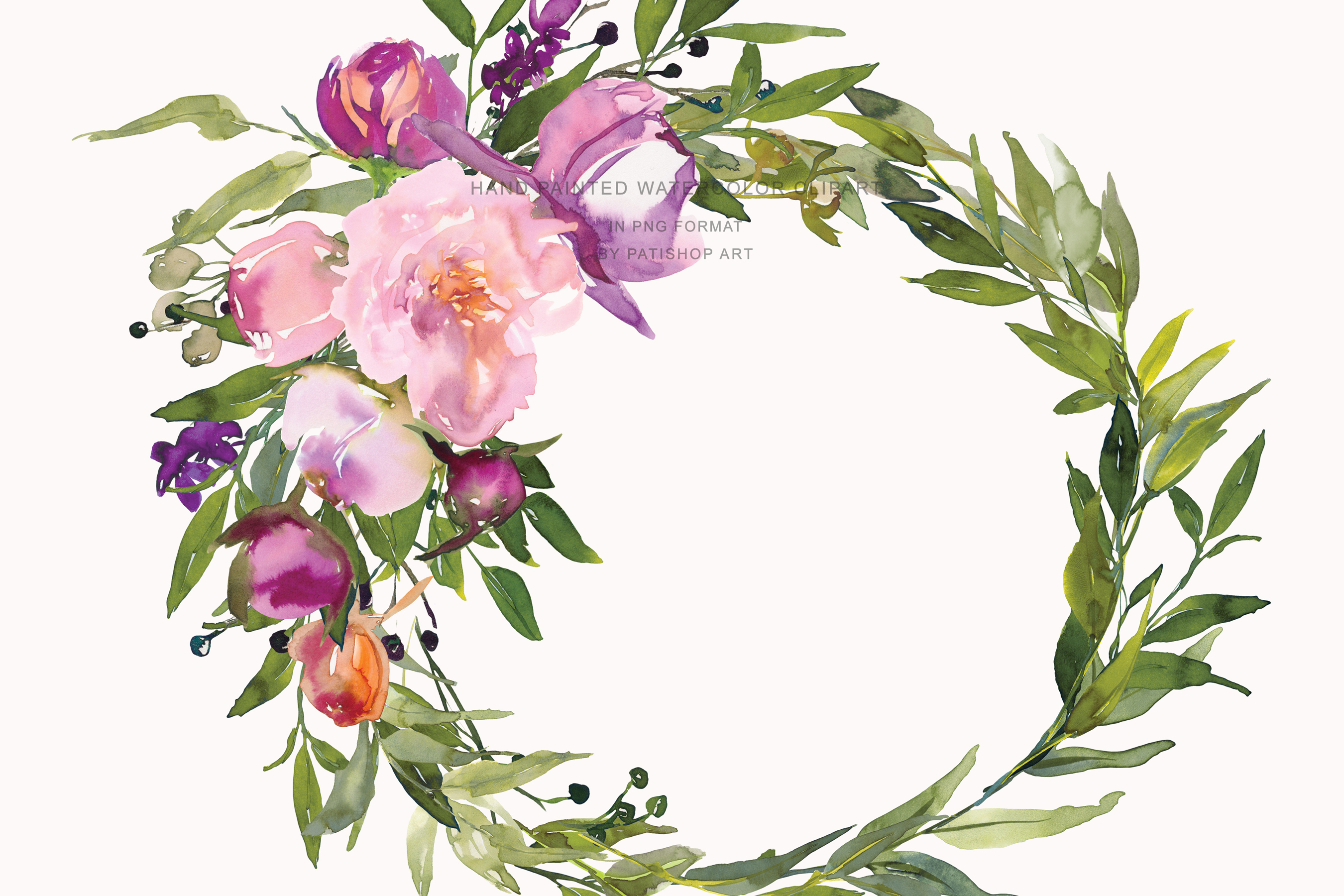 Watercolor Pink Peony Wreath Set example image 6