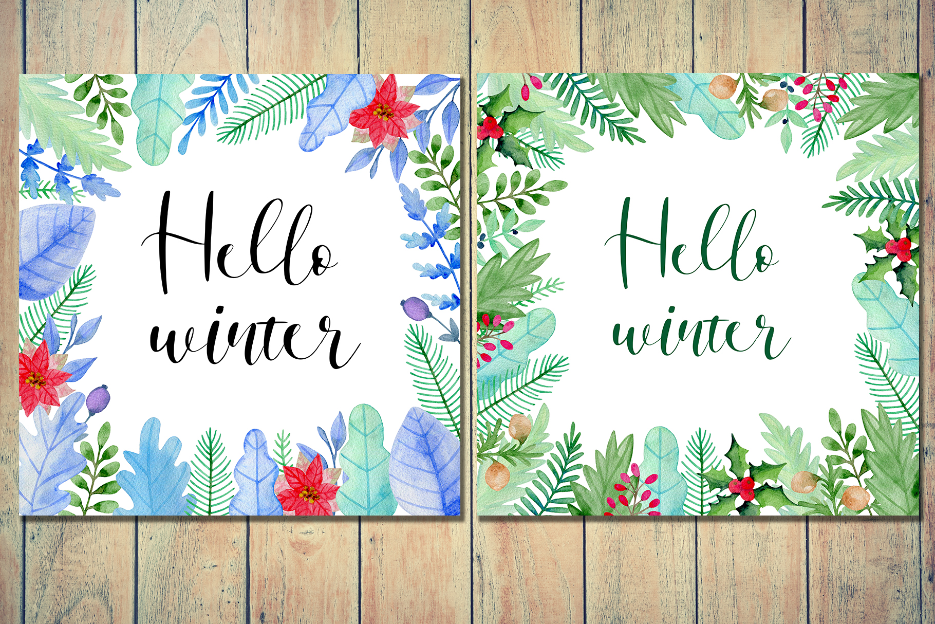 Winter Watercolor Design Kit example image 5