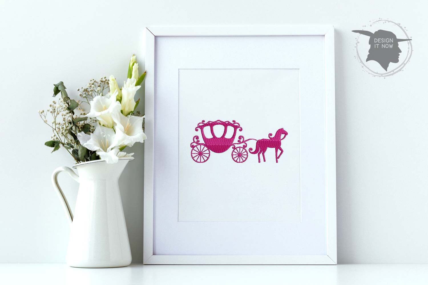Princess Carriage Embroidery Design, Crown Embroidery, Queen example image 1
