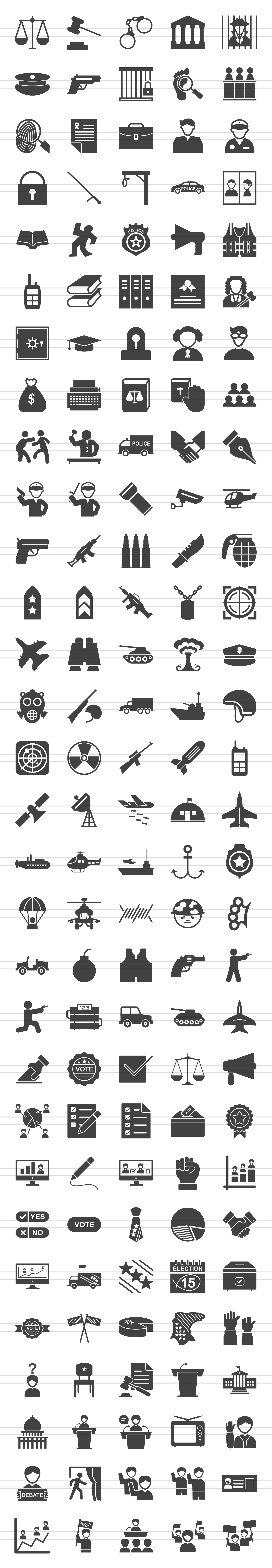 150 Law & Order Glyph Icons example image 2