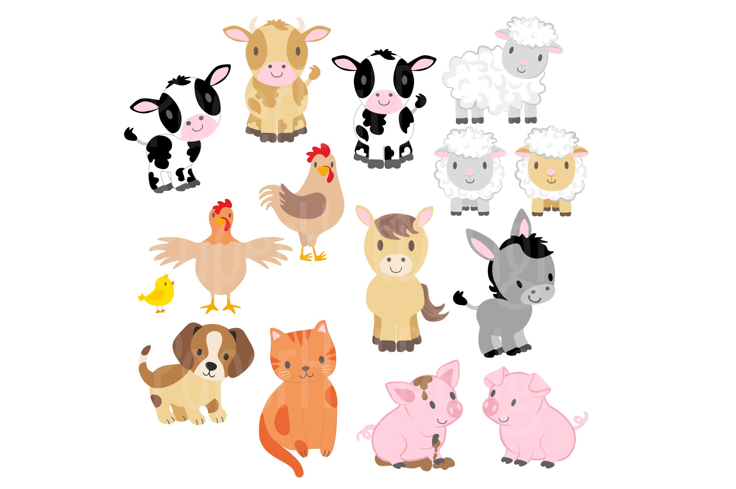 Farm Animals Clipart and Digital Papers example image 2