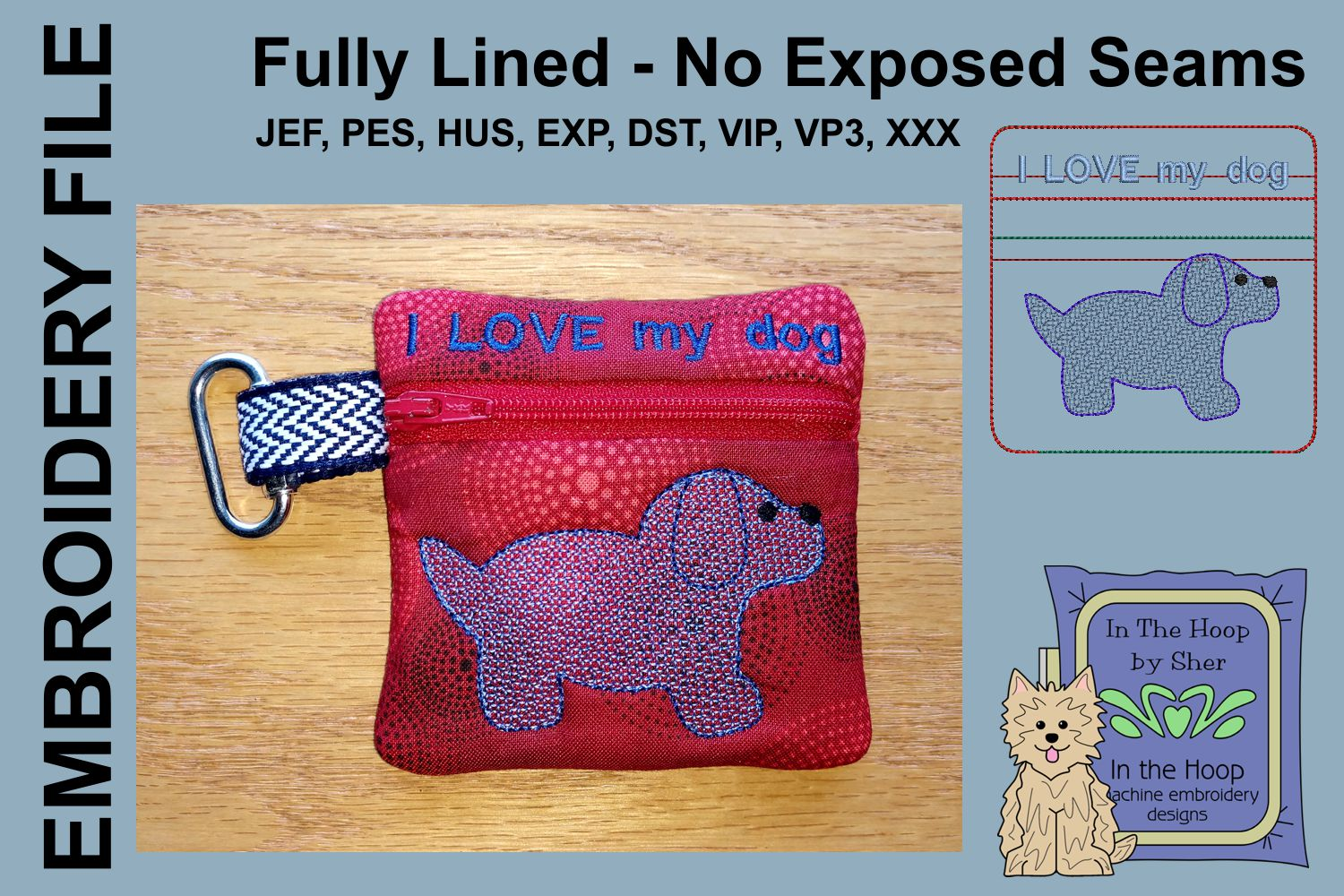 Puppy Mini Zipper Bag / Fully Lined, 4X4 HOOP example image 1