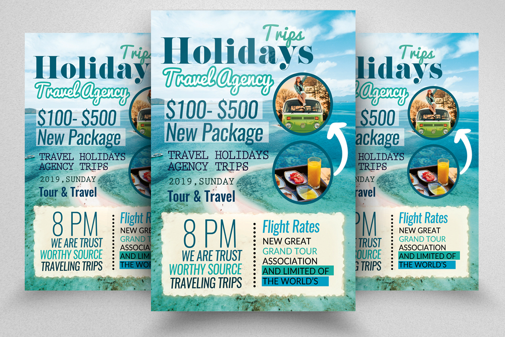 A4 Tour Travel & Holidays Flyer example image 1