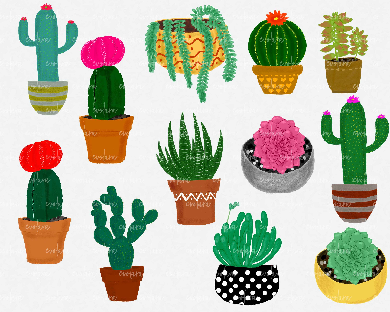 Boho Cactus Clipart Succulents Clipart Plant Clipart Cactus example image 2