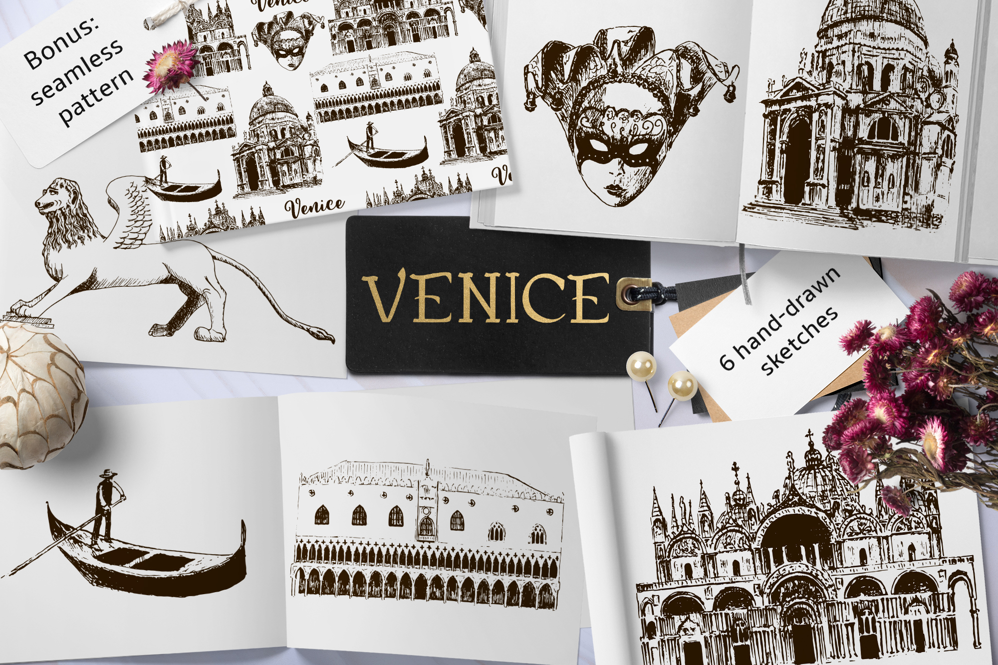Set of Venice sketches example image 1