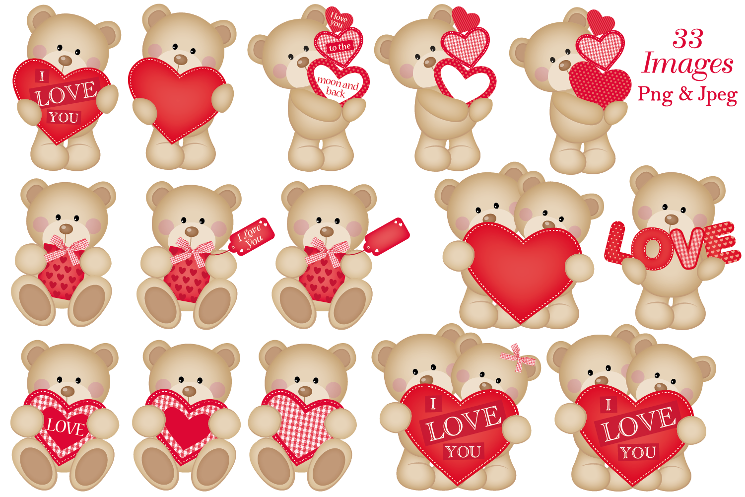 Valentine clipart, Valentine bear graphics & illustrations example image 2