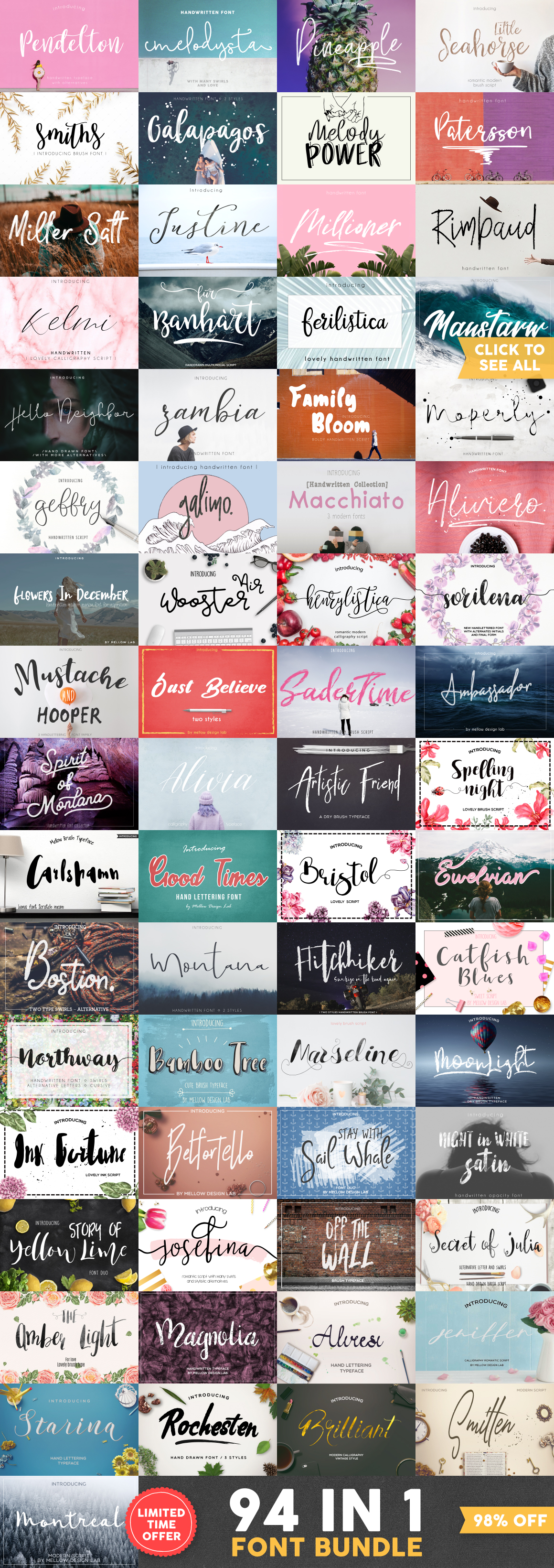 94 IN 1 Font Bundle SALE example image 2