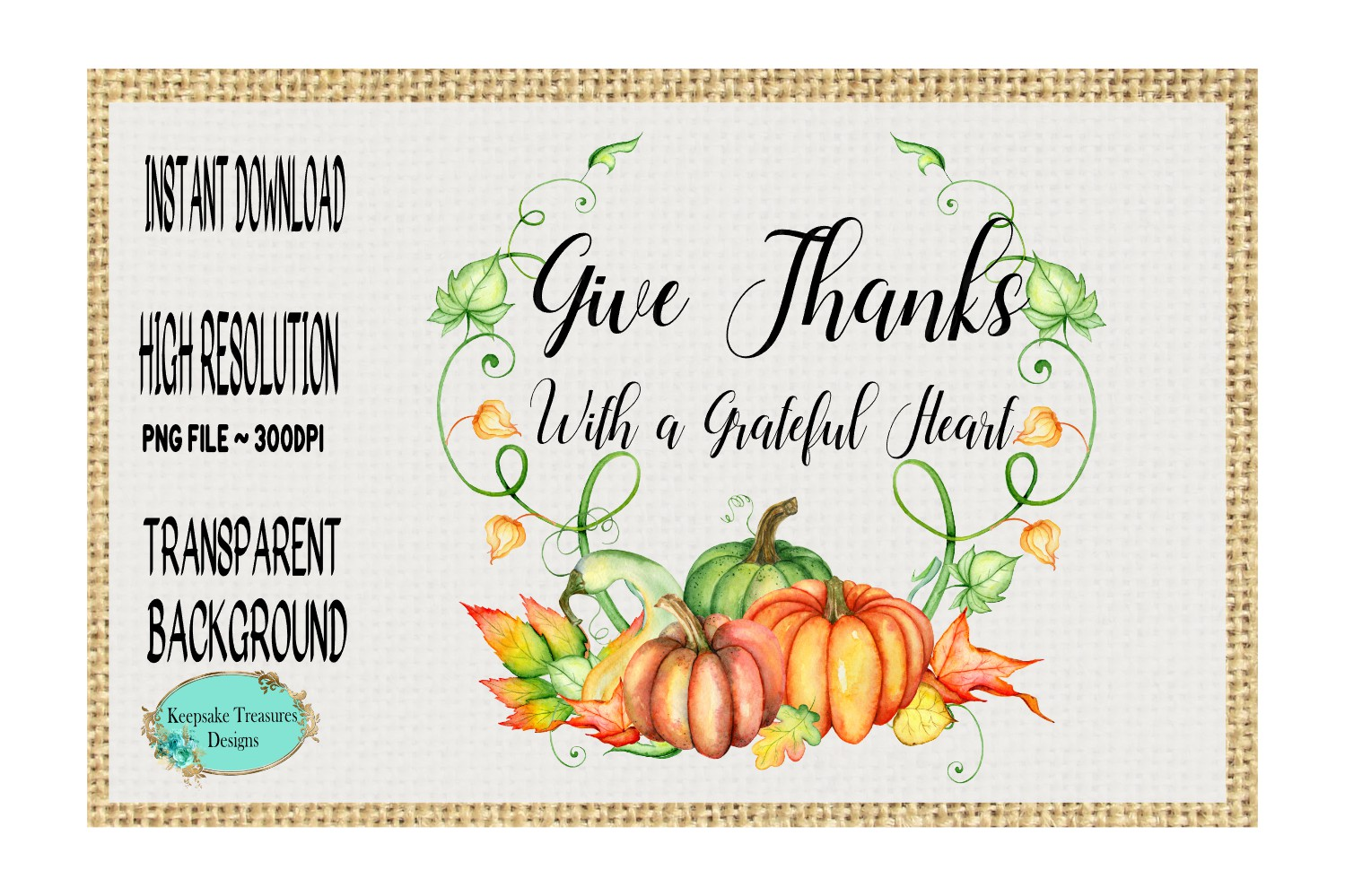 Give Thanks With a Grateful Heart, Sublimation Design example image 1