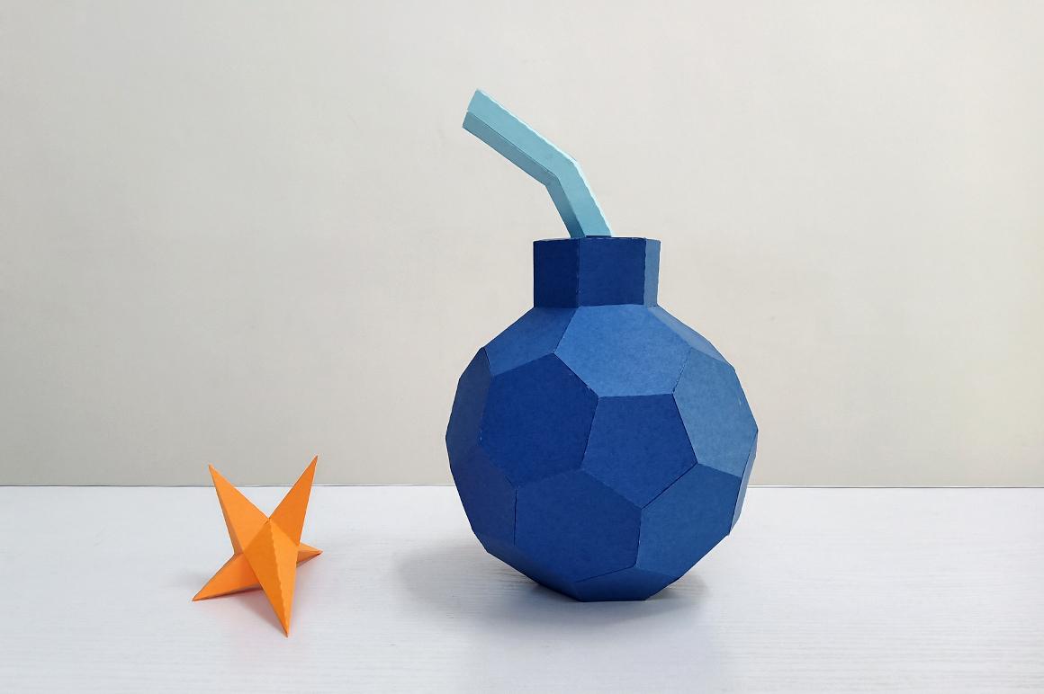 DIY Cannon Bomb,Papercraft Bomb,3d bomb,Paper toy,Bomb Svg example image 5