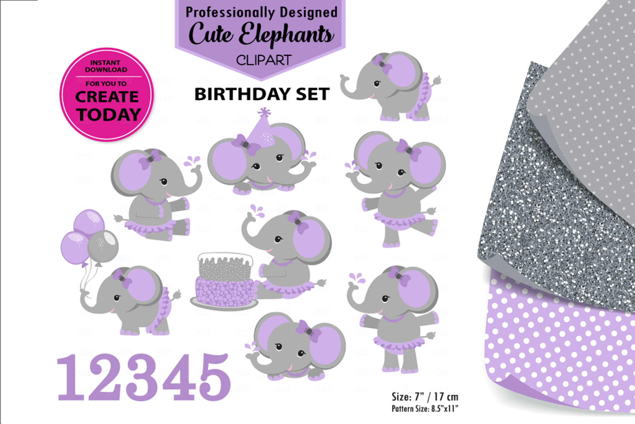 Purple Elephant Girl Sitting With A Birthday Cake Clip Art. example image 1