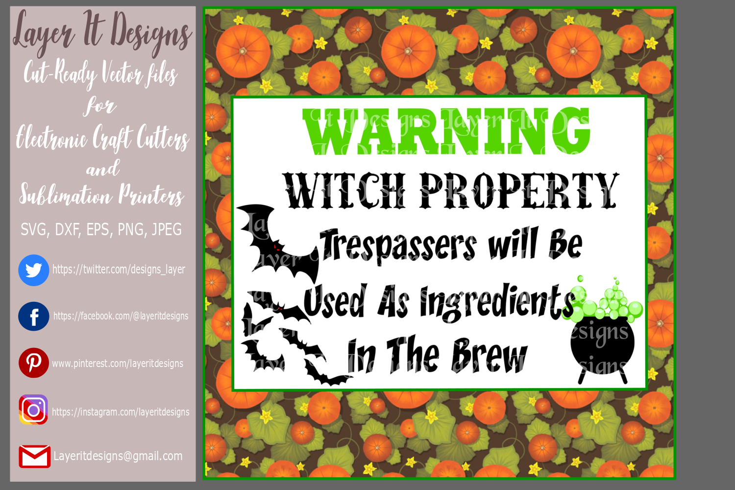 Halloween warning sign Design file example image 2
