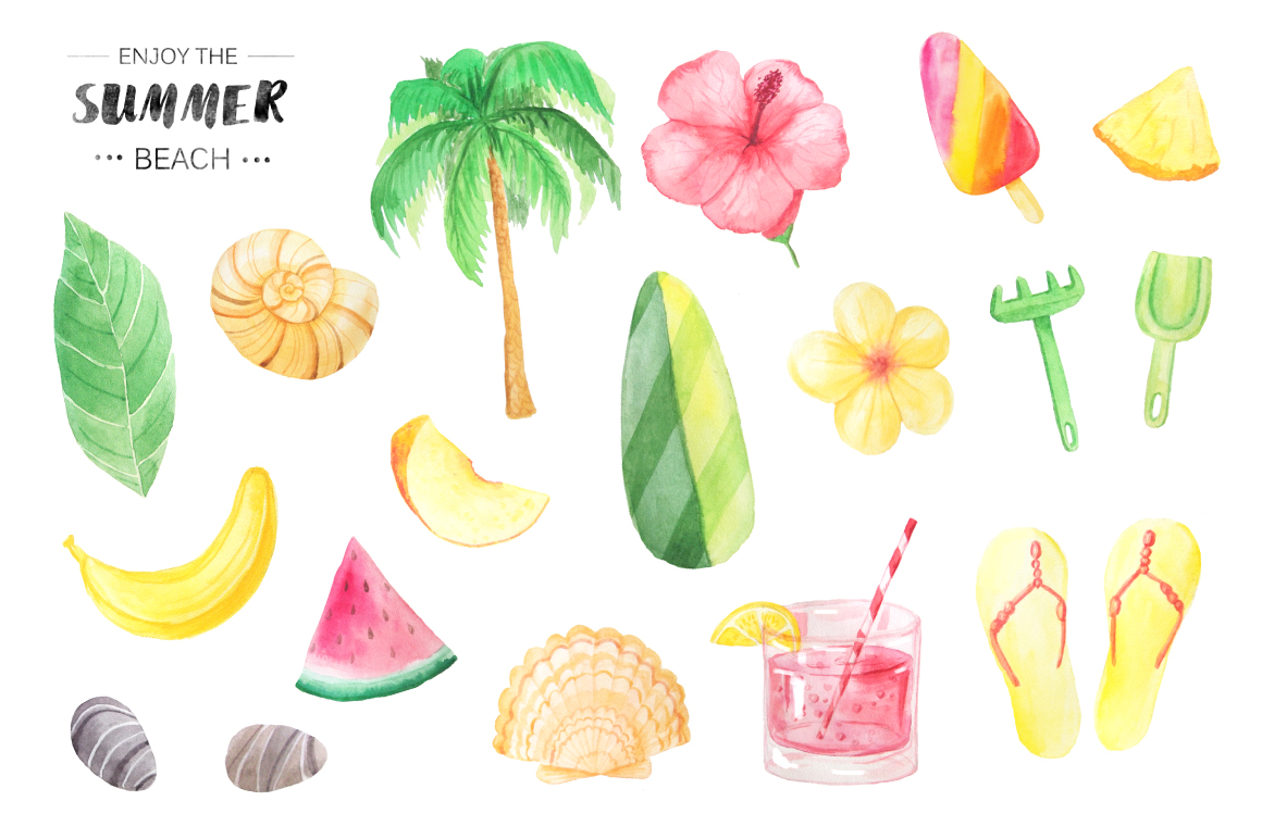 Watercolor Beach Set example image 2