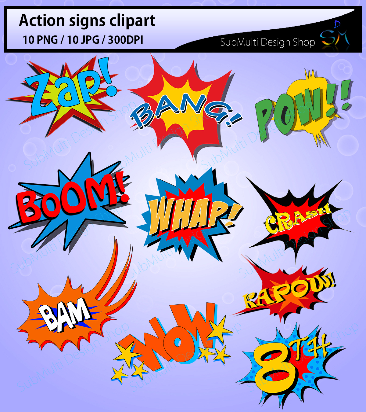 action signs / High Quality clipart / action sign silhouette / zap clipart / bang clipart / pow clipart / boom clipart /pop art / comic book example image 3