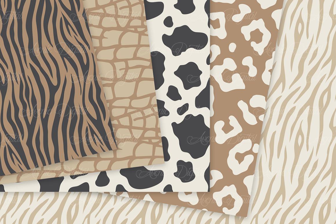 Neutral Animal Print Vector Patterns - Brown Safari Seamless Digital Papers example image 4