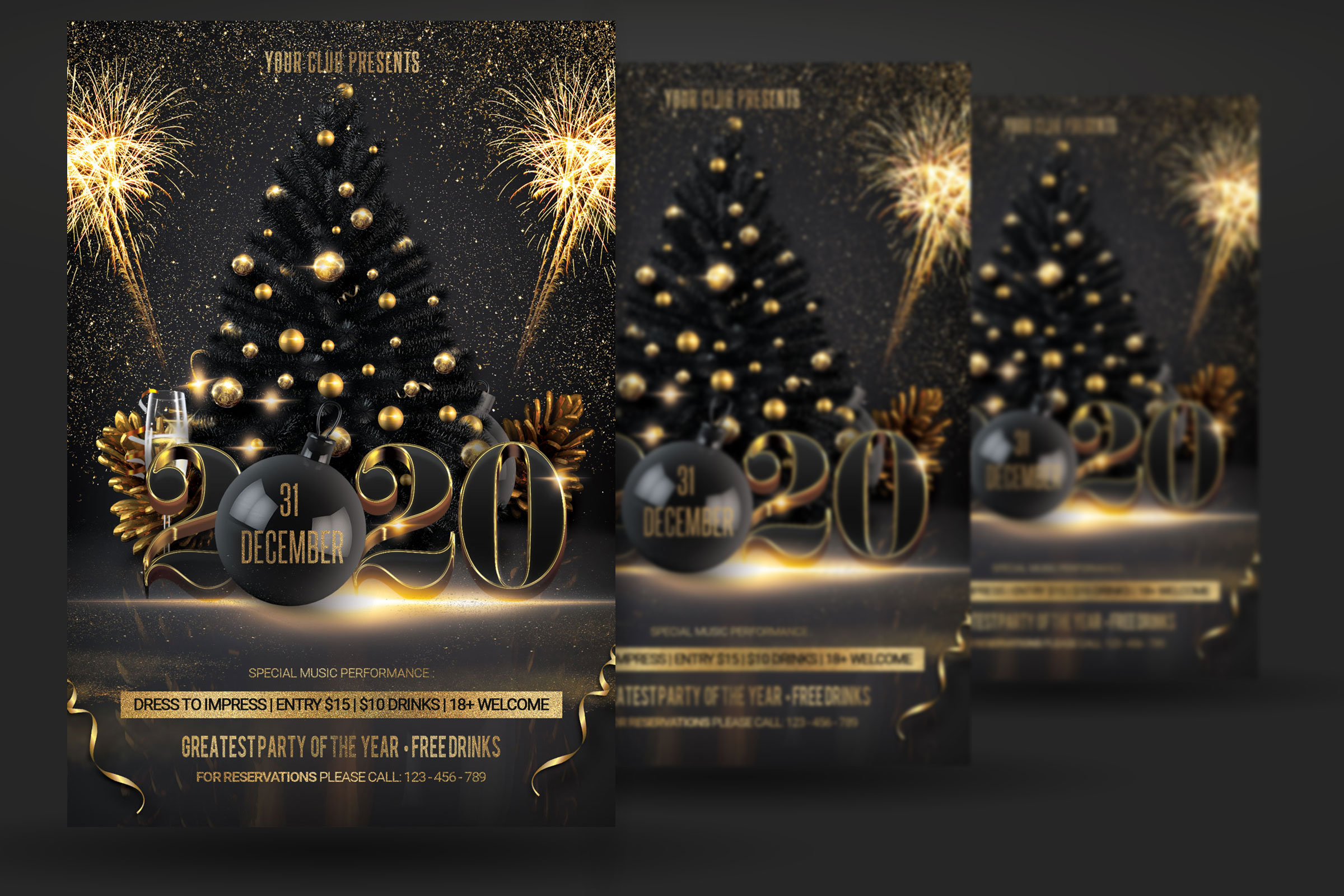 New Year Christmas Party Flyer example image 2