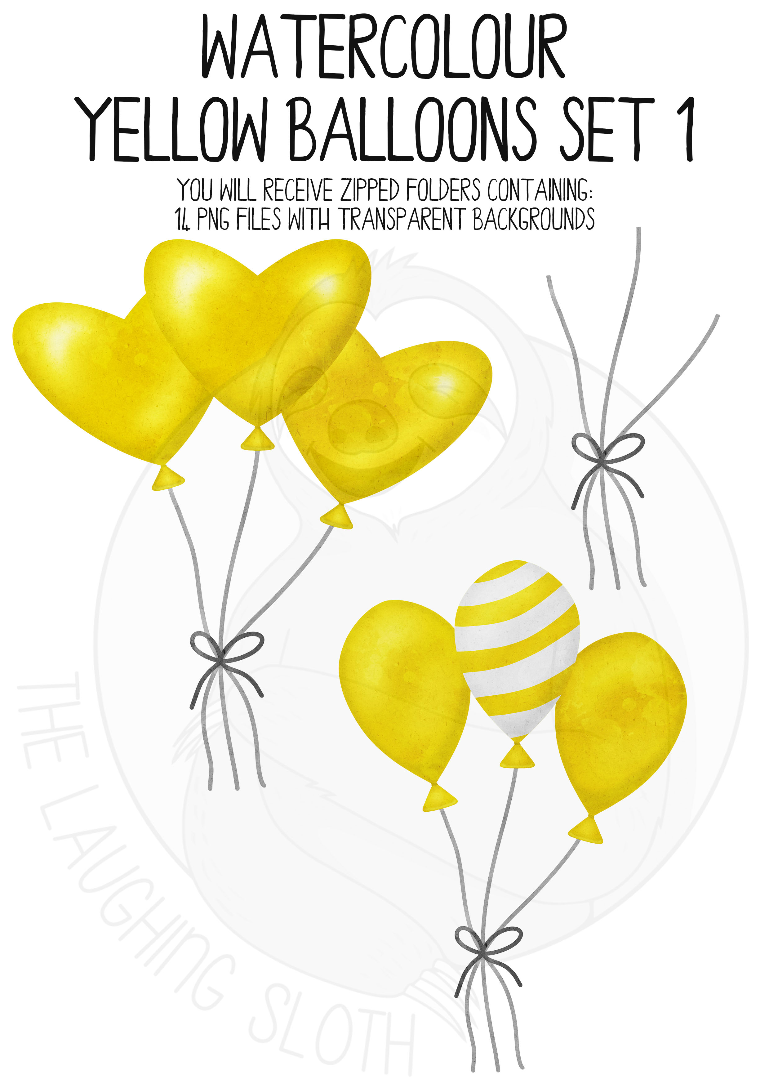 Yellow Watercolor Balloon Clipart Set example image 5