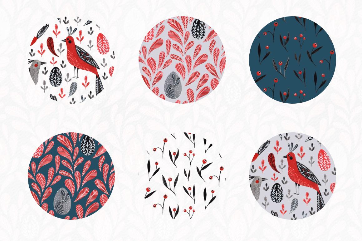 Lovebirds folk art bird illustrated collection example image 7