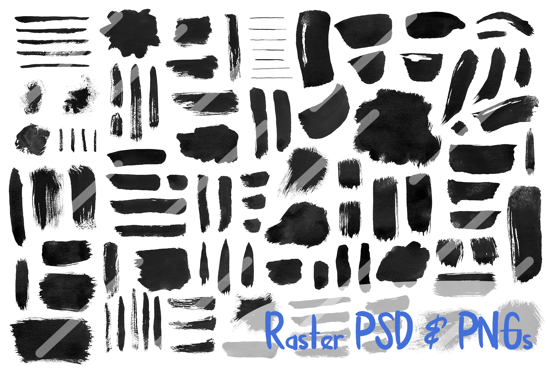 Black Ink Brushes for Adobe Photoshop and Adobe Illustrator example image 2