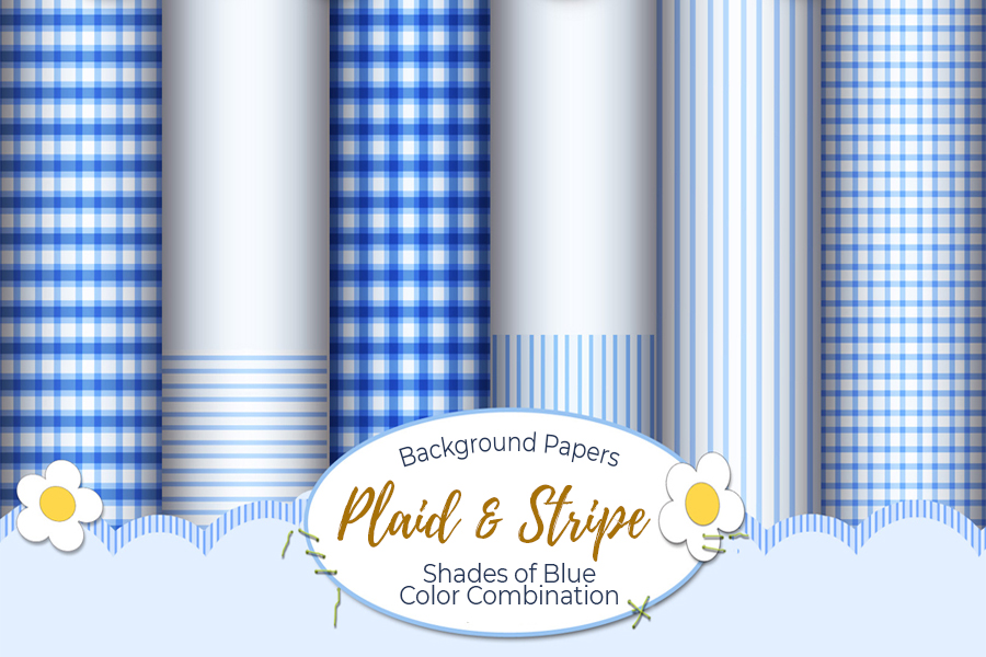 54 Plaid,Stripe & Dots on Blue Shades JPG Background Papers example image 8