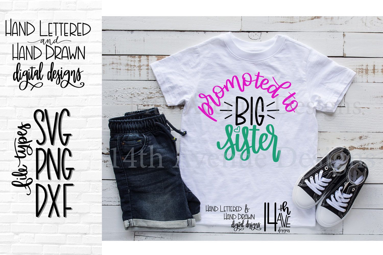 Promoted To Big Sister SVG, Hand Lettered, Big Sister, PNG example image 1