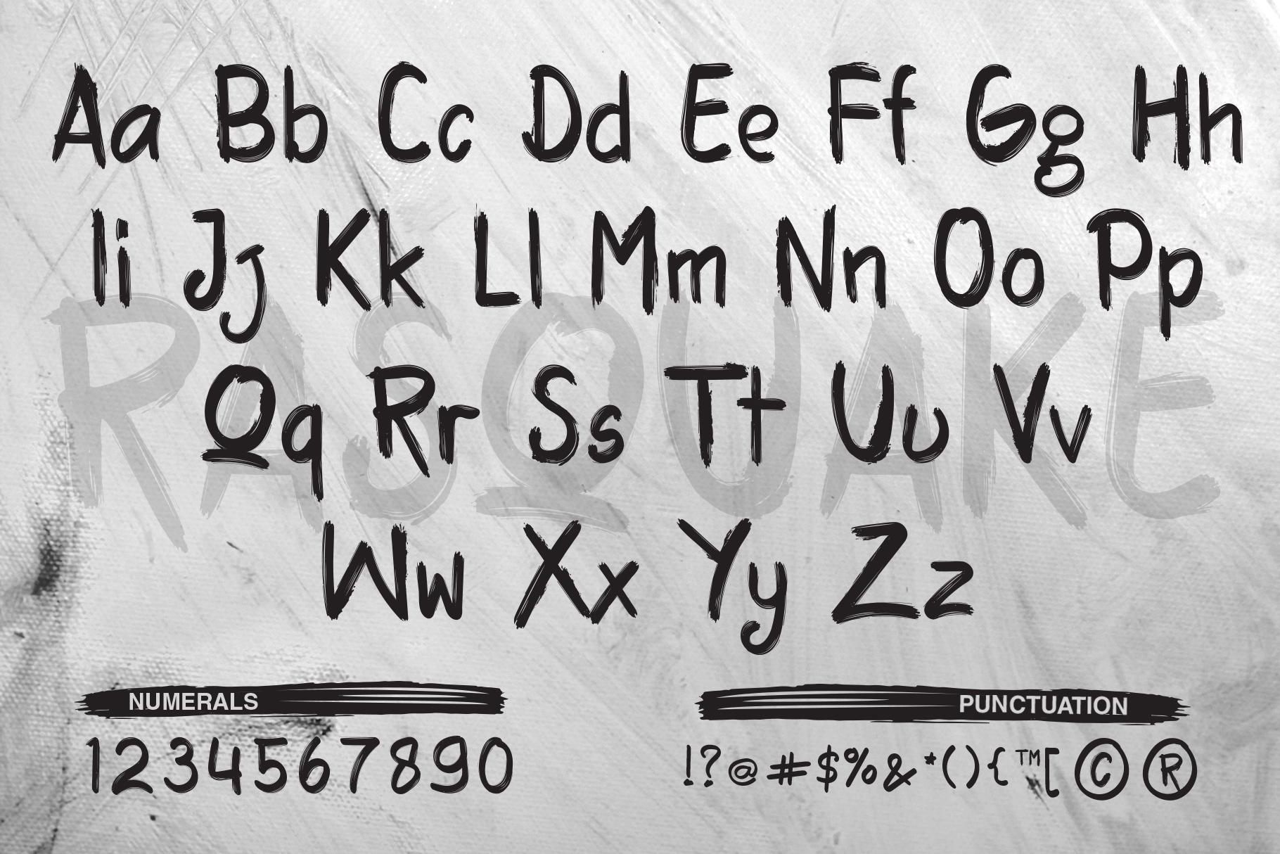 RASQUAKE brush font EXTRA swashes example image 2