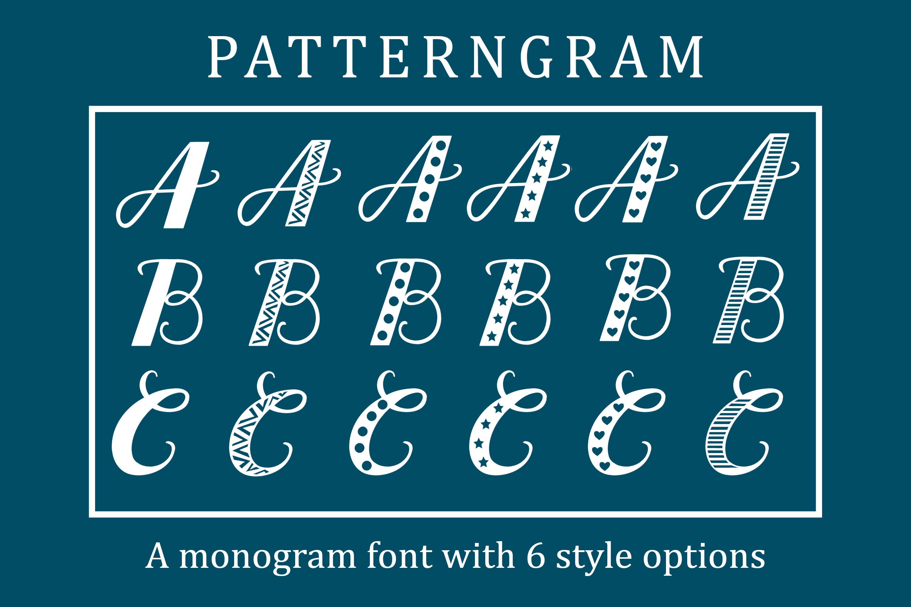 Patterngram - Monogram font with 6 style options example image 1