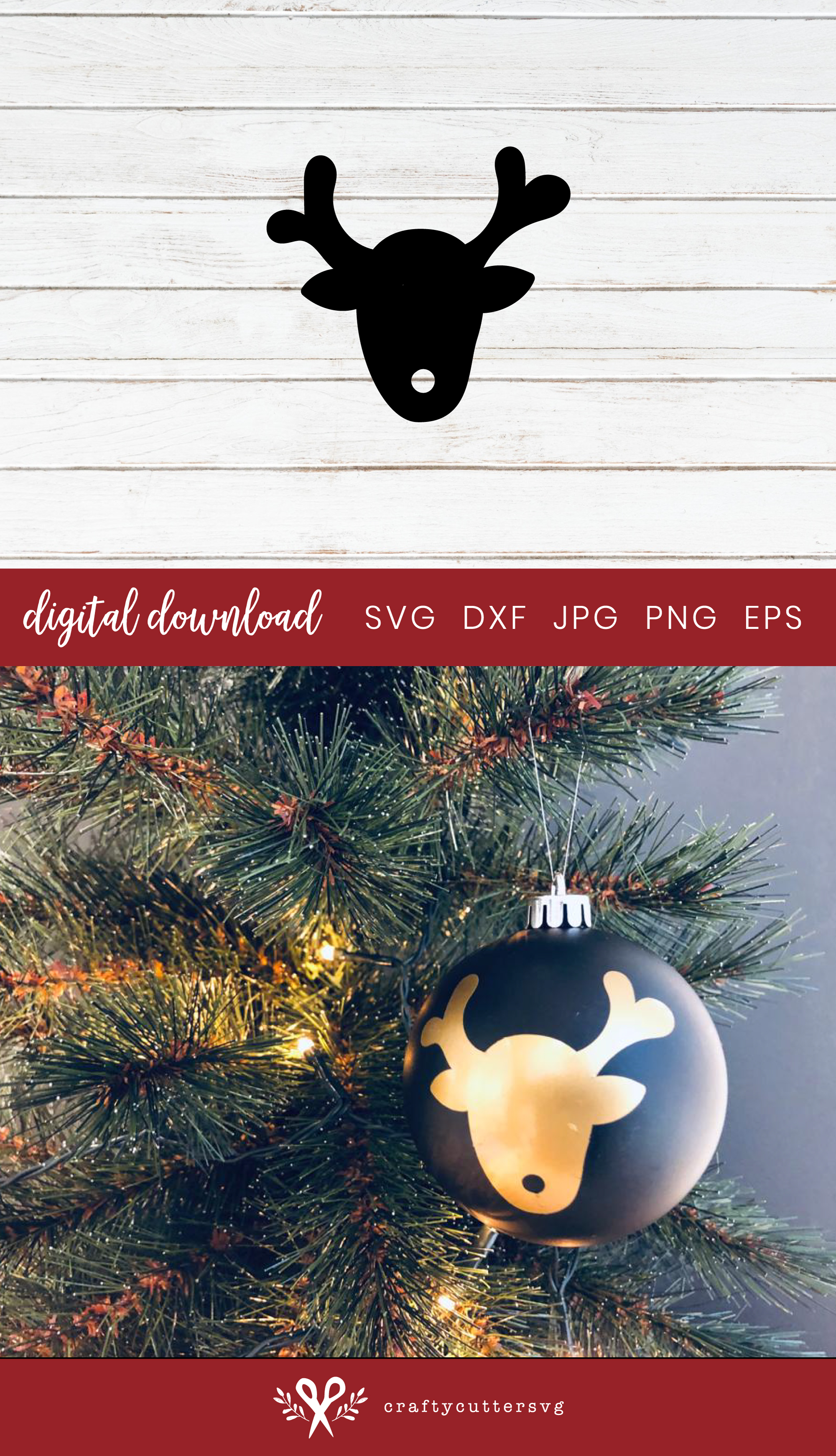 Christmas Reindeer Decoration Svg Cut File Bell Clipart example image 3