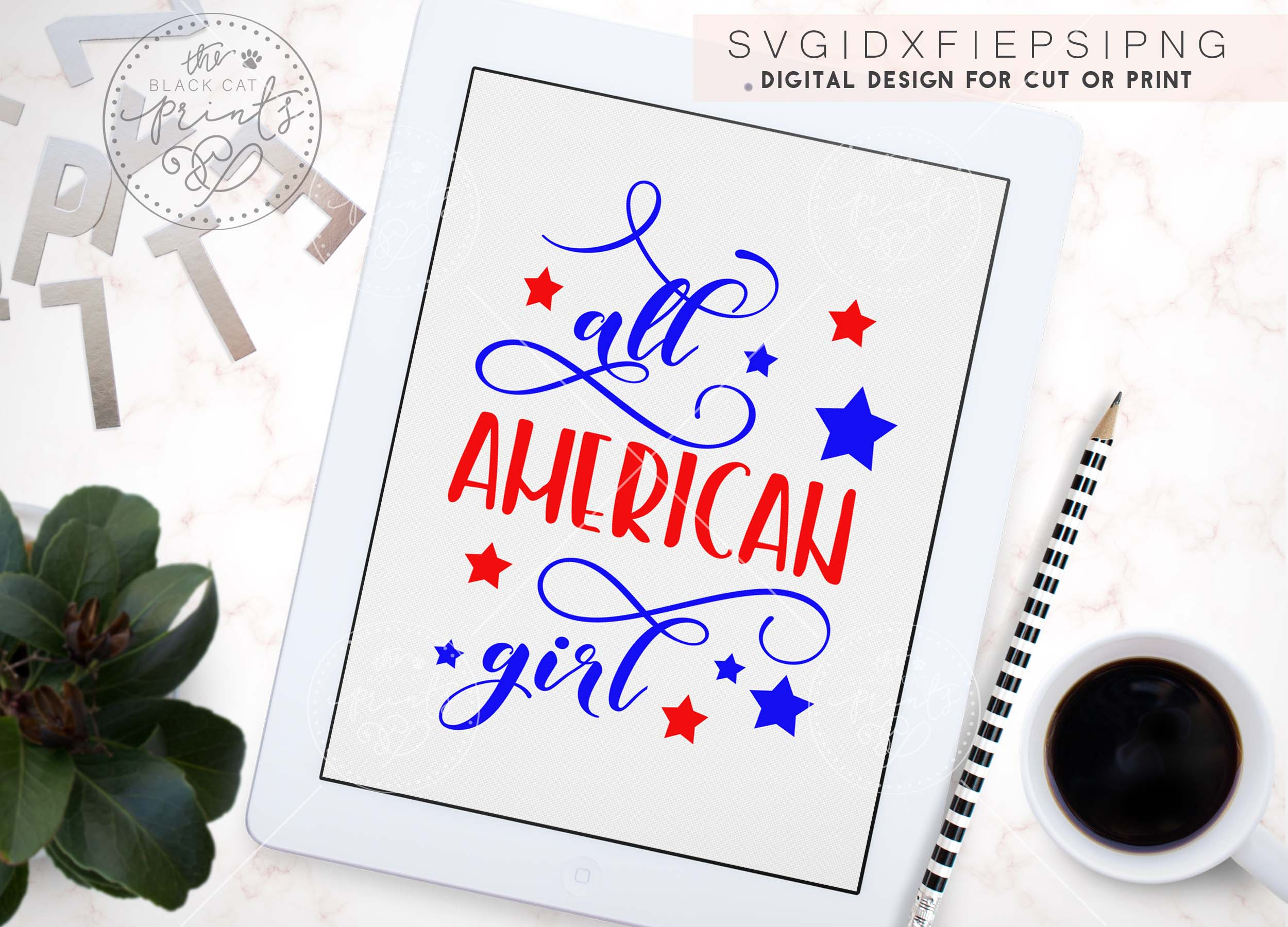 All American girl SVG PNG EPS DXF example image 6